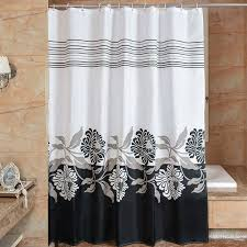 Floral Shower Curtain 3D Black White Fabric shower curtains
