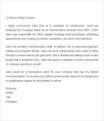 Employee Reference Letter Examples Employment Recommendation Letter