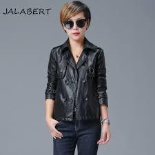 2017 spring new leather women short paragraph double buckle wash pu leather jacket female motorcycle jacket female