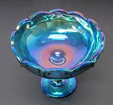 vintage indiana iridescent blue carnival glass pedestal bowl