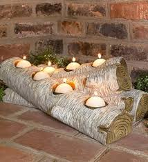 birch log candle holder for fireplace