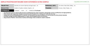 Proofreader Resume