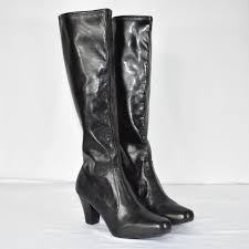 clarks women s black faux leather high heel knee high boots