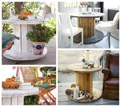 wooden cable spool table garden upcycling project flower decoration