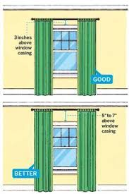 11 Foolproof Decorating Tips Tips for freshening up your home's  interiorwithout breaking the bank. illustration fo how to hang curtains so  ceilings look ...