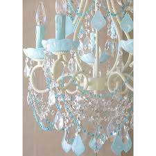 quick view 5 light beaded chandelier with opal aqua blue crystals