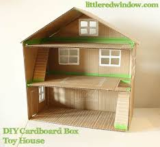 diy cardboard box toy doll house by little red window