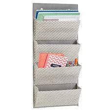 office supplies for cubicles. MDesign Wall Mount/Over The Door Fabric Office Supplies Storage Organizer  For Notebooks, Planners, File Folders - 4 Pockets, Gray/Cream Office Supplies Cubicles U