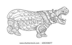 Small Picture Hippo Decorative Hippo Monochrome Sketch Animal Stock Illustration