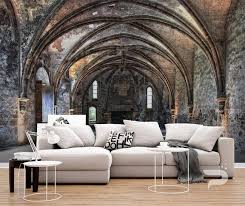 stone arcs wall mural old castle