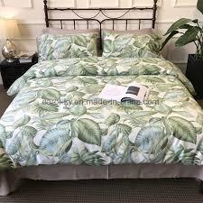 china cotton printed green leaf pattern home bedding set china bedding set bed linen