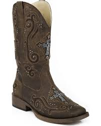 zoomed image roper women s bling crystal cross faux leather western boots brown hi res