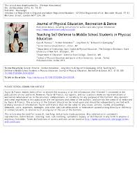 Pdf Teaching Self Defense To Middle School Students In Physical