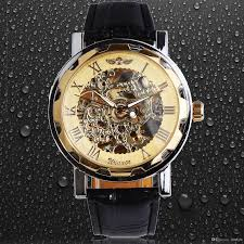 classic men s black leather gold dial skeleton mechanical sport army wrist watch winner mens skeleton wrisch gold case band watches