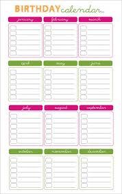 Yearly Calendar Planner Template Birthday Calendar Calendar Template Awana Birthday Calendar