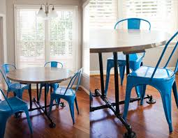 Wood And Metal Round Dining Table Pipe Table Etsy