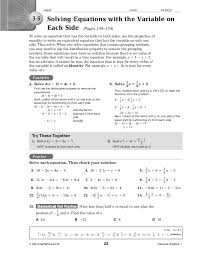 solving equations with variables on both sides worksheet answer key lesson 5 skills practice