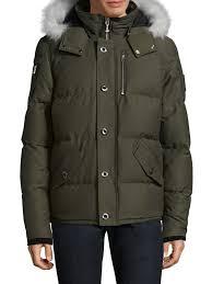 moose knuckles 3q fur trimmed puffer jacket olive men moose knuckles jackets tk ma accessories