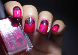 nail loopy: CBL LITTLE RED CORVETTE WITH LACE NAIL ART