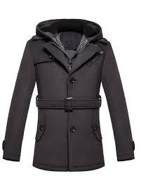 brilliant dark grey cashmere wool blend hooded pea coat