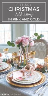 Elegant Christmas Table Setting with Pink and Gold | Vintage table ...