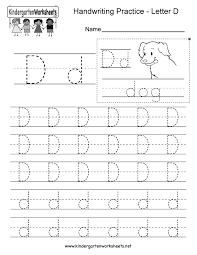 Writing Practice Worksheet Letter D Writing Practice Worksheet Free Kindergarten