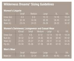 Wilderness Dreams Size Chart