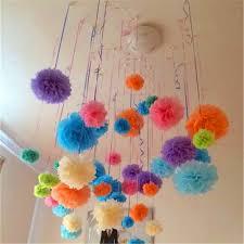 Hanging Pom Pom Decorations 50 Pcs 12 Inch Tissue Paper Flowers Hanging Paper Pom Poms For