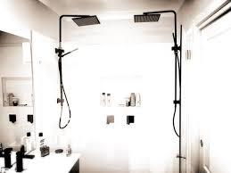 matte black shower rail with shower head