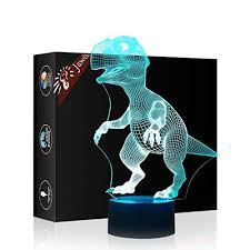 gift dinosaur 3d illusion night light beside table l jawell 7 colors auto changing