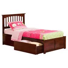 Atlantic Furniture Mission Walnut Twin XL Platform Bed with Flat ...