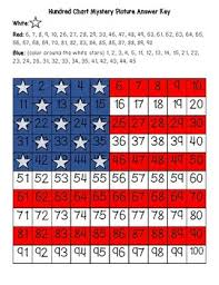 American Flag Usa Hundred Chart Mystery Picture With Number Cards