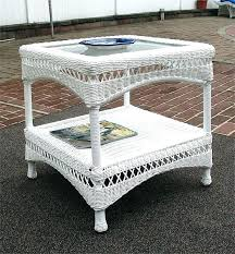 round wicker end table white wicker end table palm springs resin round coffee wicker dining table