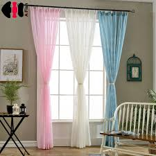 White Curtain fabric Printed Room Decor Pink Curtains Linen Tulle ...
