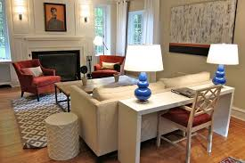 sofa table behind couch against wall. Put A Desk Behind The Couch To Add An Office Space Living Room, Sofa Table Against Wall