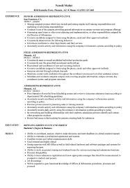 Admissions Representative Sample Resume Admissions Representative Resume Samples Velvet Jobs 20