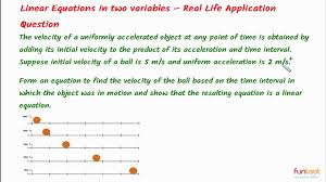 examples of linear equations in real life situations tessshlo