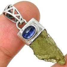 details about israeli style moldavite blue kyanite 925 sterling silver pendant pp213522