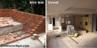 drywall vs conventional brick wall