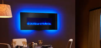 p simplifire 58 inch wall mount with black front blue flame