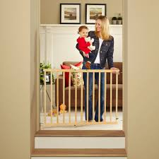north states swing door baby gate  made with natural wood