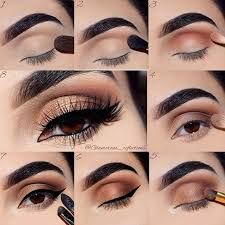 brown and gold smokey eye tutorial for brown eyes