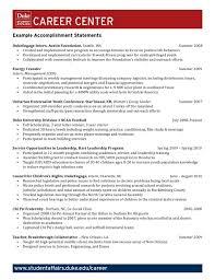 Resume Sentence Examples Example Accomplishment Statements By Duke University Career