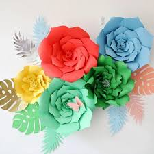 Cardstock Paper Flower Giant Card Stock Paper Flowers With Leaves Full Wall Wedding
