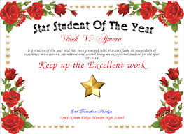 Star Student Certificates Star Student Of The Year Certificate Created With