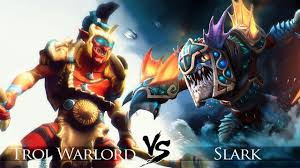 dota 2 slark vs troll warlord one click battle youtube