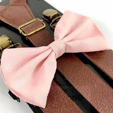 details about suspender and bow tie brown leather wedding pink formal wear accessory