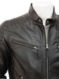 men s black leather biker jacket maikop side