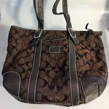 Brown Coach Logo Handbag - Medium Sized