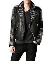 mens studded black leather jacket